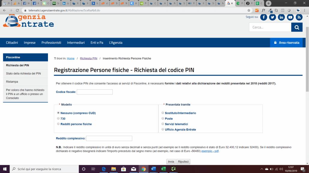 registrazione a fisconline: richiesta codice pin agenzia delle entrate